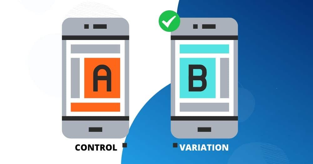 A representation of website ab testing on mobile devices